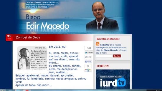 Fac simíle do blog de Edir Macedo