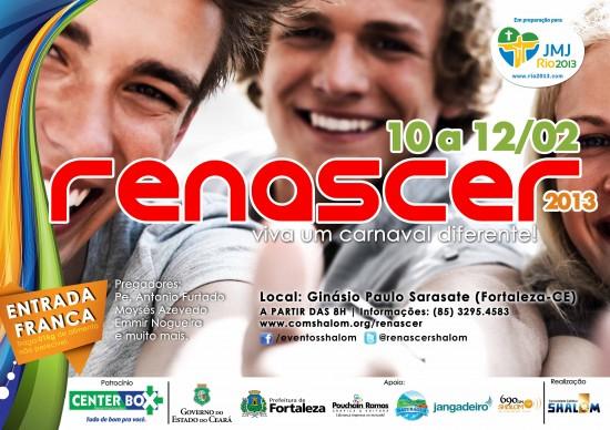 """Cartaz do Renascer 2013 com selo """"Rumo a JMJ""""."""