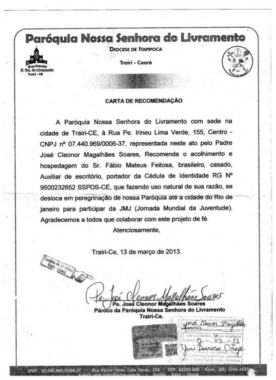 Carta de recomendação assinada pelo Pe. José Cleonor, pároco de Trairi-CE.