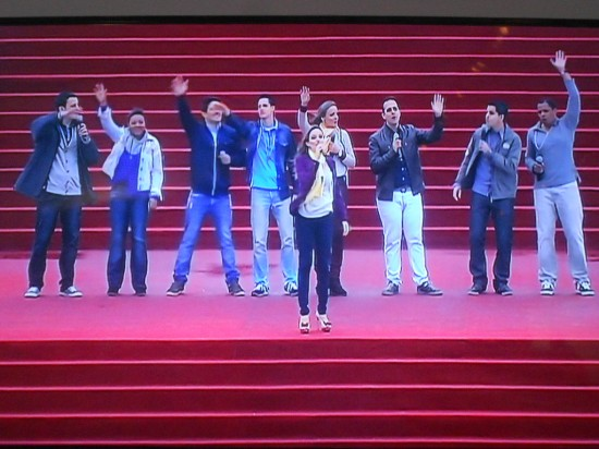 Cantores da Comunidade Católica Shalom no palco principal da JMJ.