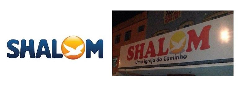 À esquerda logotipo da Comunidade Católica que nasceu no Ceará; à direita nome de igreja protestante em Brasília.