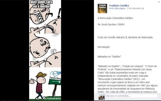 Imaturidade, mau gosto e discórdia compõem as postagens da página como esta.