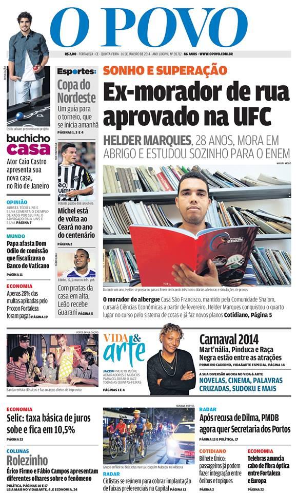 Assunto foi destaque em Capa do Jornal O Povo.