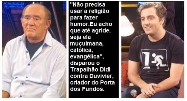 """Didi dá """"pito"""" em Durvivier em rede nacional."""
