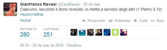 Tuíte do cardeal Ravasi.