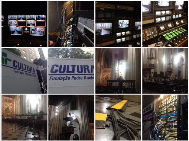 Equipamentos são montados para transmissão da missa. Foto: reprodução Facebook - Rafael Alberto.
