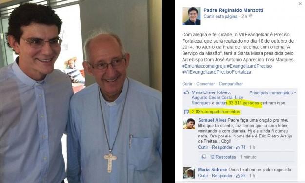 A postagem do sacerdote teve milhares de compartilhamentos e curtidas.