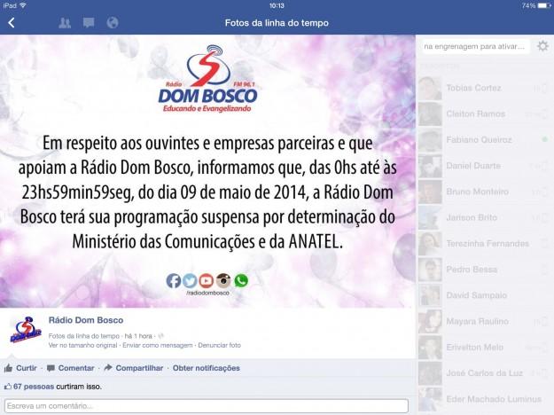 Reprodução do Facebook da emissora.