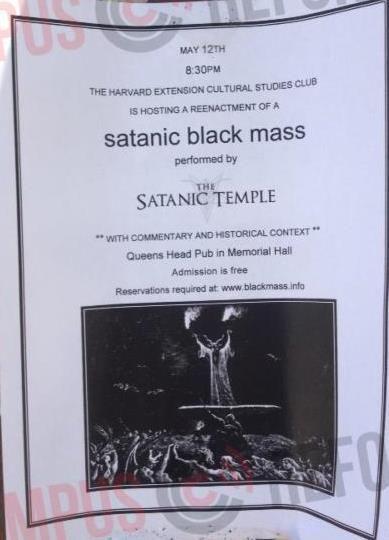 """Cartaz de divulgação da """"missa negra""""."""