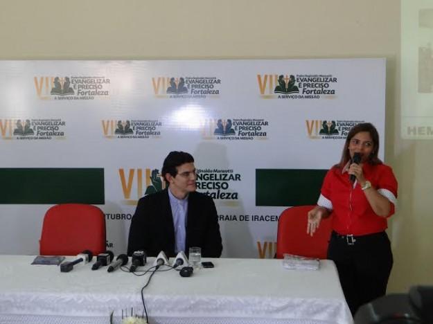 Nágela Lima, representante do Hemoce na Coletiva. Foto: Arquidiocese de Fortaleza/Divulgação.