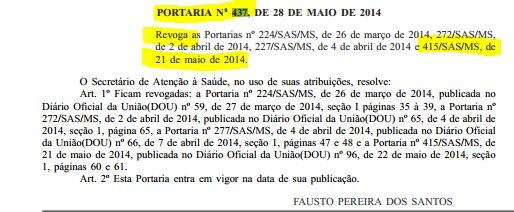 Diário Oficial com a Portaria 437 revogando a Portaria 415 que oficiliazava o aborto. Imagem: reprodução.
