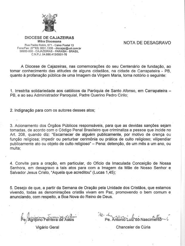 nota desagravo cajazeiras ancoradouro
