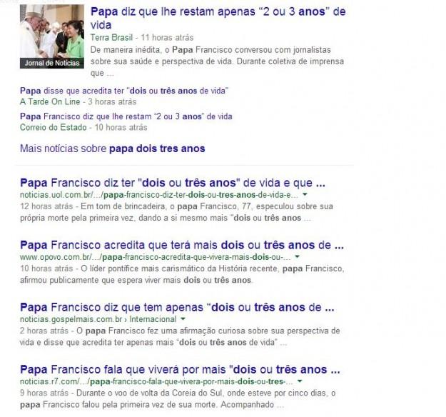 Sites multiplicaram a brincadeira do papa como coisa séria.
