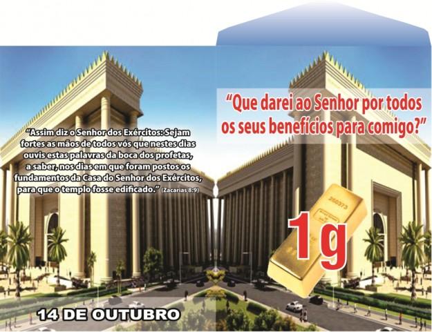 Envelope da Campanha do Templo de Salomão.