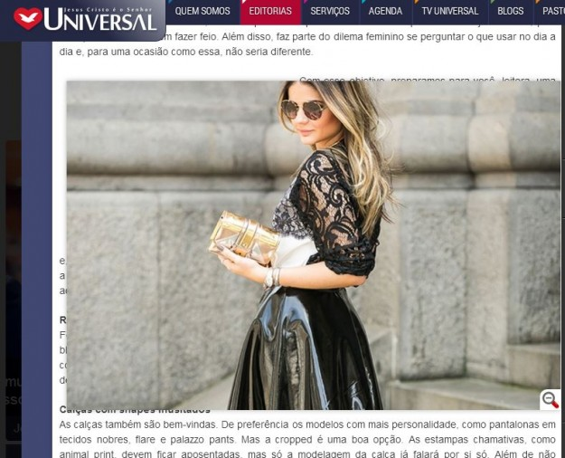 Fac-símile do site da Universal.