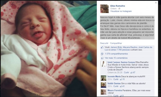 Reprodução do Facebook de Elba Ramalho.