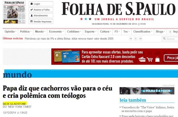 Folha replicou mentira e não se emendou.