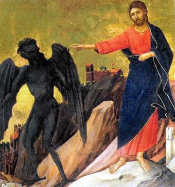 Jesus vence o demônio no deserto.