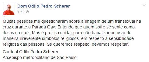 Comentário de arcebispo é semelhante ao de milhões de brasileiros.