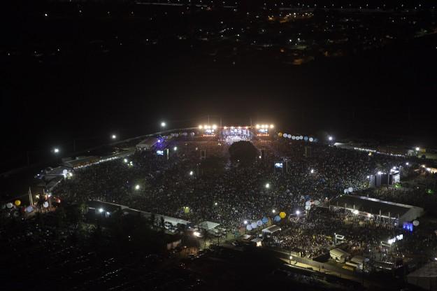 Imagem aérea do Festival Halleluya na noite de sábado. Foto: Fernando Maia da Cunha