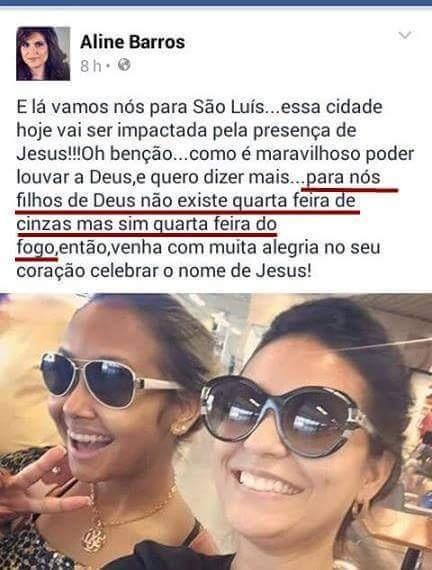 Postagem de Aline Barros foi classificada como desrespeitosa à fé dos católicos.