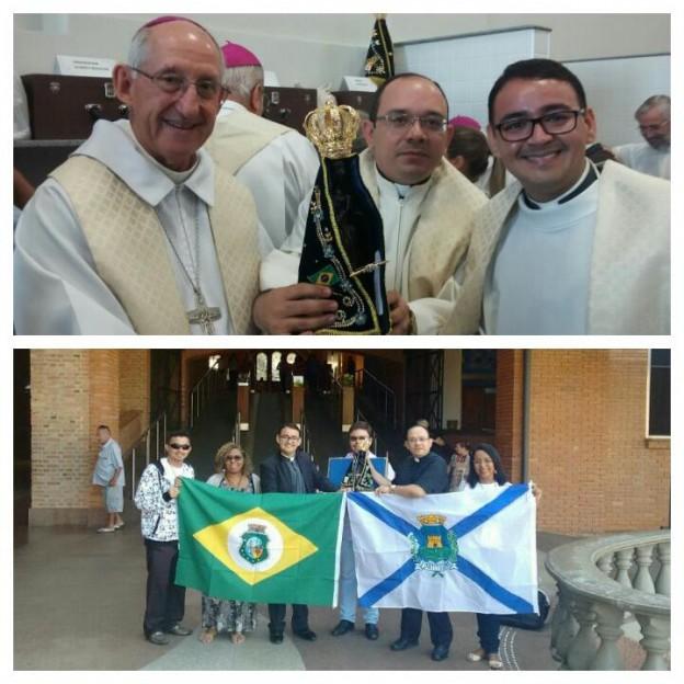 Comissão arquidiocesana com a imagem da padroeira do Brasil.