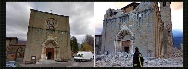 Igreja de Amatrice antes e depois do terremoto.