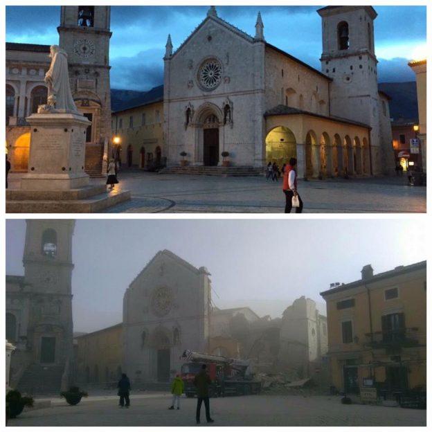 Igreja de são Bento antes e depois do terremoto.