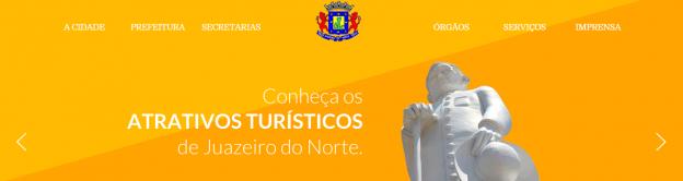 Prefeitura de Juazeiro alega estado laico e traz em destaque imagem religiosa.