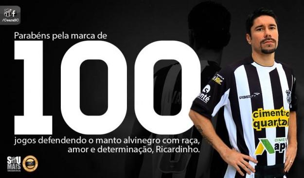 #Ricardinho100Jogos (Imagem: Cearasc.com/Divulgação)