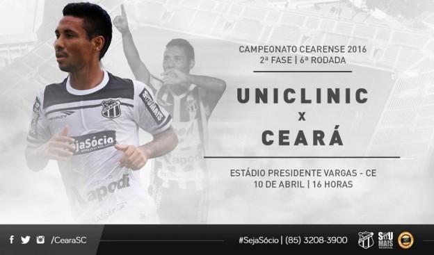Uniclinic x Ceará – Dependendo de outros (Imagem: CearaSC.com/Divulgação)