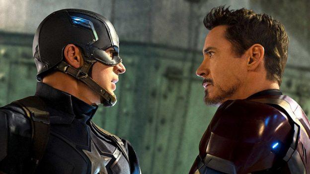 Capitão América e Homem de Ferro trabalhando junto pela boa colocação