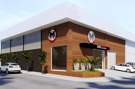 Maquete projetando a fachada da academia em Fortaleza. Foto: Divulgação