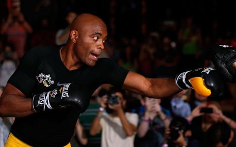 Anderson Silva no treino aberto esta quinta-feira. Foto: UFC/Divulgação