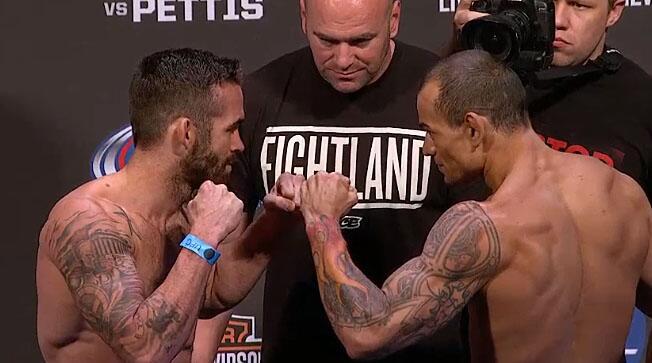 Gleison Tibau (direita) é o Brasil no evento. Foto: divulgação / UFC