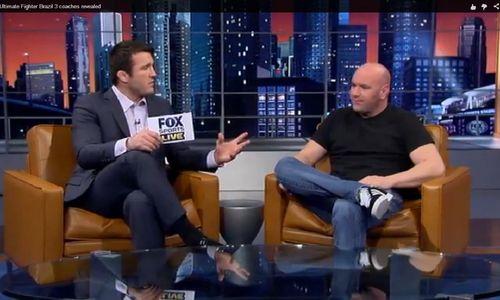 Momento do anúncio do técnicos dos TUF, em que Sonnen entrevista Dana. Foto: Reprodução TV