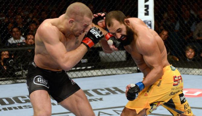 Luta entre GSP x Hendricks terminou com decisão dividida. Foto: UFC/Divulgação