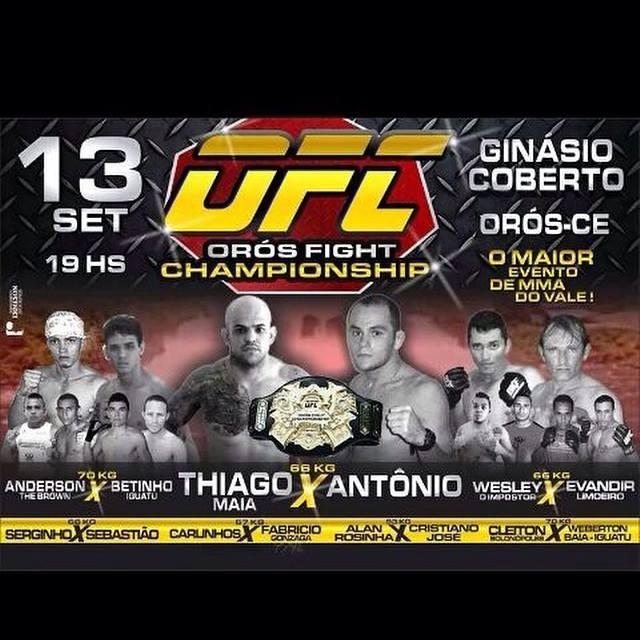 Orós Fight terá disputa de cinturão na luta principal. Foto: Divulgação