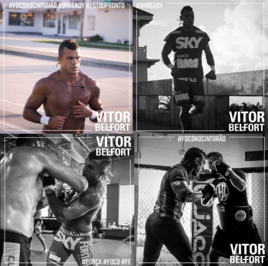 Quatro momentos de Vitor Belfort durante os treinamentos   Foto: divulgação
