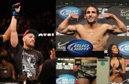 McGregor (esq.) e Mendes (dir.) trocaram farpas ao vivo em programa de TV   Fotos: UFC/Divulgaçãos