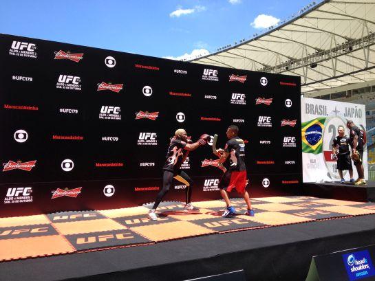Patolino mostrou suas técnicas no treino aberto do UFC 179 | Foto: Lucas Mota/O POVO