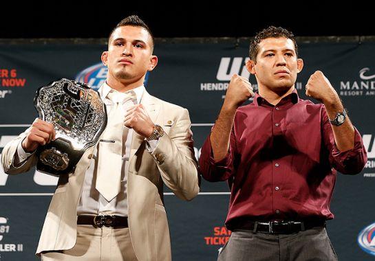 Pettis posa com o cinturão ao lado de Melendez | Foto: reprodução/UFC/Twitter