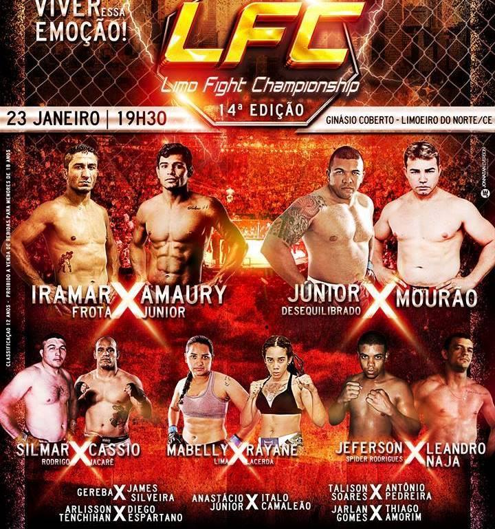 Cartaz de divulgação com as lutas do Limo Fight 14