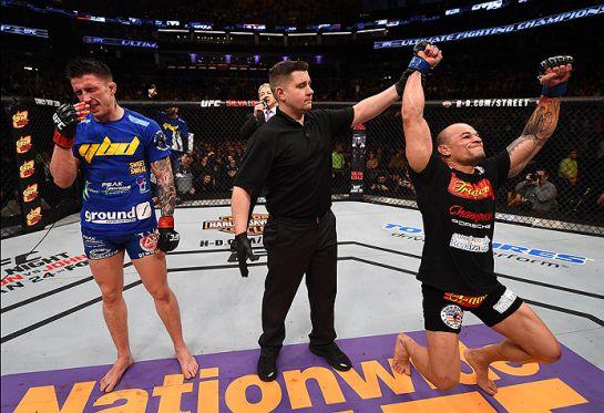 Em luta equilibrada, Tibau vence Parke por pontos   Foto: UFC/Divulgação