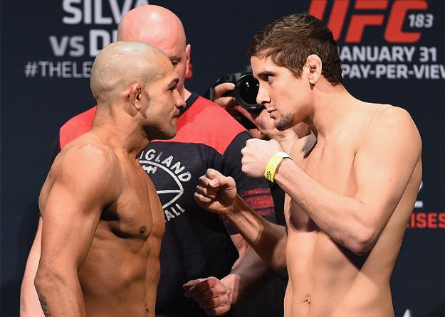 Brandão e Hettes chegaram a se encarar no UFC 183, mas duelo foi cancelado   Foto: UFC'Divulgação