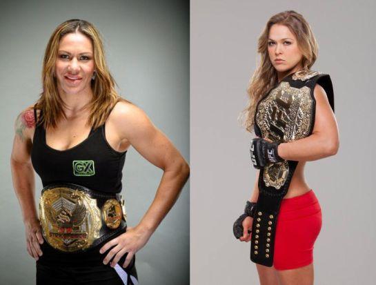 Cyborg e Ronda com os cinturões do Invicta e UFC | Foto: Divulgação/Editoria de Arte