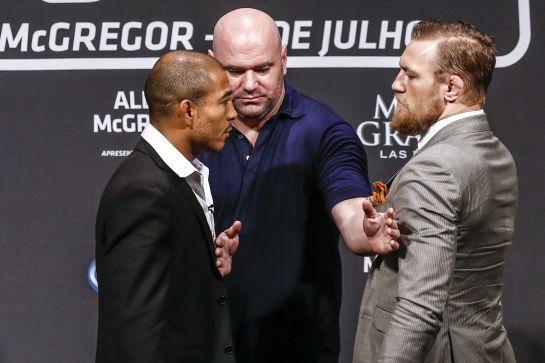 Aldo e McGregor em encarada tensa | Foto: UFC/Divulgação