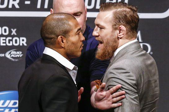 Aldo e McGregor na primeira encarada entre eles | Foto: William Lucas / Inovafoto