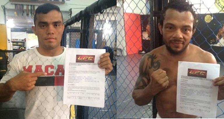 Lourenço (esquerda) e Babuíno já assinaram contratos. Foto: UFC/Divulgação