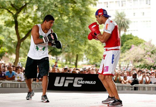 Durinho e Belfort em treinamento para o UFC São Paulo | Foto: UFC/Divulgação